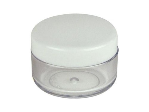 Plastic Transpatent 15g Sample Empty Container Jars Round Pot White Screw Cap Lid Small Tiny Bottle for Cosmetic Make Up Eye Shadow Nails Powder Gems Jewelry 15ml (25pcs)