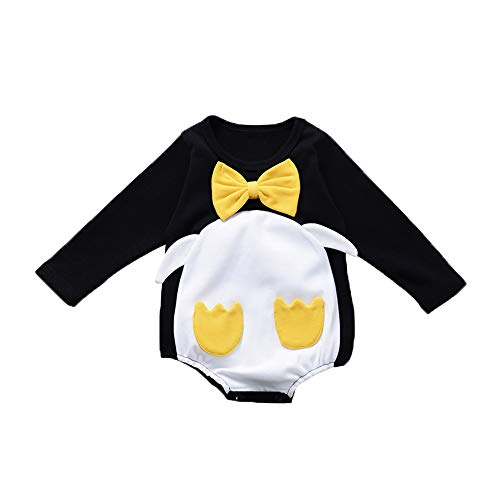 Infant Penguin Halloween Costume (YOUNGER TREE Toddler Baby Boy Girl Romper Penguin Costume One Piece Long Sleeve Bowknot Fall/Winter Outfits 0-18M (Black, 0-3)