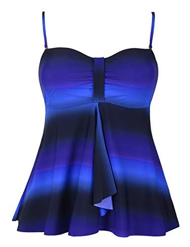 (Hilor Women's Flyaway Tankini Top Bandeau Swimsuit Flowy Bathing Suit Black&Blue 12)