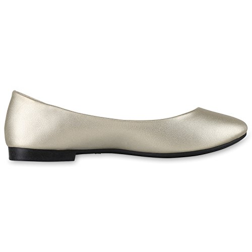 Japado Klassische Damen Ballerinas Flats Spitze Häkeloptik Leder-Optik Slippers Ballerina Schuhe Metallic Schleifen Pailletten Gold