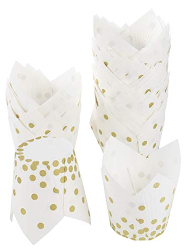 Cupcake Liners - 100-Count Tulip Baking Cups Muffin Liners for Kids Birthdays, Weddings, Baby Showers - White with Gold Foil Polka Dots, 3.5 x 3.5 x 2.5 Inches