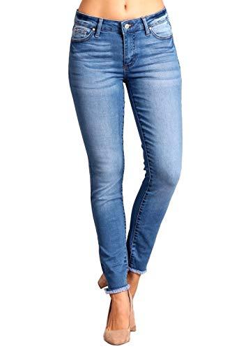 Celebrity Pink Women's Mid Rise Ankle Frayed Hem Skinny Jeans 5 Belle CJ22033O5 ()