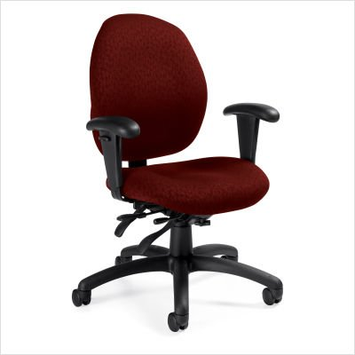 Mid-Back Pneumatic Multi-Tilter Office Chair with T-Arms Fabric: Renewal Cherry Fields