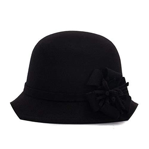 Vogue Ladies Women Vintage Imitation Wool Rose Flower Felt Fedora Hat Fall Winter Cloche Bucket Cap,2