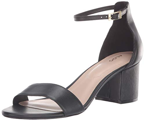 ALDO Women's VILLAROSA Heeled Sandal, Black Leather, 6- B US