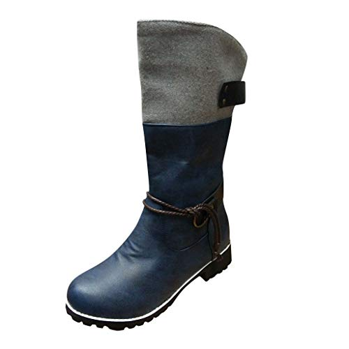 Leather Knee Boots-RQWEIN Women's Knee High Boot Flat Heel Zipper Buckle Riding Boots Faux Fur-Lined Winter Boots