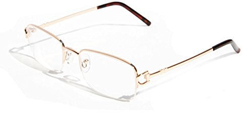 V.W.E. Rectangular Half Rim Metal Reading Glasses With Anti-reflective AR Coating (Gold, 1.00)