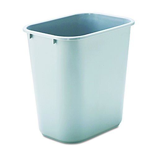 Rubbermaid Commercial 295600GY Deskside Plastic Wastebasket, Rectangular, 7 gal, Gray