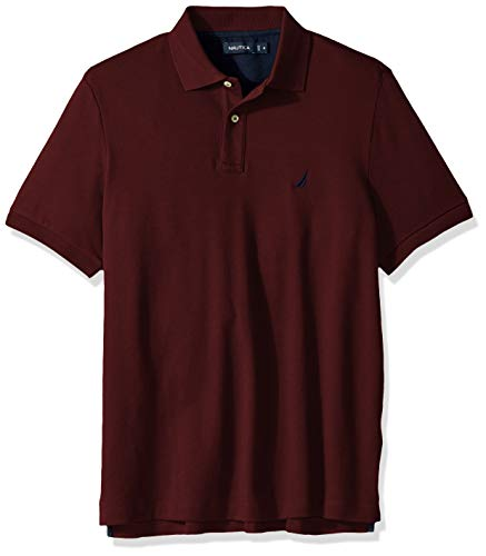Nautica Men's Classic Fit Short Sleeve Solid Soft Cotton Polo Shirt, Royal Burgundy, 1X Big Classic Striped Cotton Polo Shirt