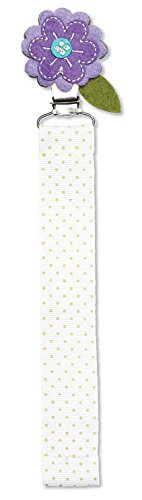 (C.R. Gibson Purple Flower and Green Polka Dot Pacifier Clip, 2pc, 8.5'' L x 1'' W)