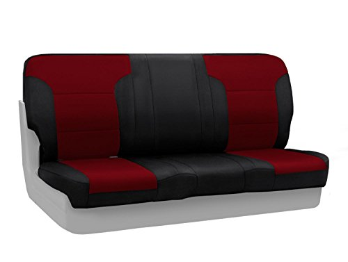 Coverking Custom Fit Front 50/50 Bucket Seat Cover for Select Ford F-Series Models - Neosupreme (Wine with Black sides)