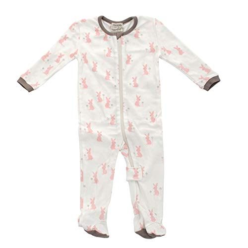 b3d634b75e4 Silkberry Baby Organic Cotton Footed Sleeper with Easy Dressing  Zipper(Girl) (Blush Bunny