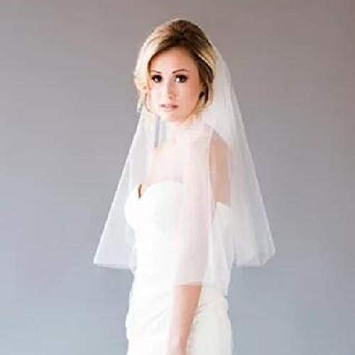 2 Tier Wedding Veil with Comb White Ivory Short Cut Edge Elbow Length (Ivory) by MISSVEIL (Image #3)