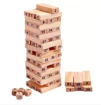 WISHIT 51 Pcs Challenging Wooden Blocks Tumbling Stacking Game with 4 Dice for Adults and Kids. Make Maths Fun for Kids Or Have Party Fun