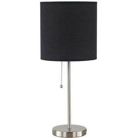 Mainstays Brushed Nickel Stick Table Lamp with Shade