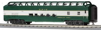 MTH O Scale Erie 70' ABS Full Length Vista Dome Passenger Car Smooth #20-6760