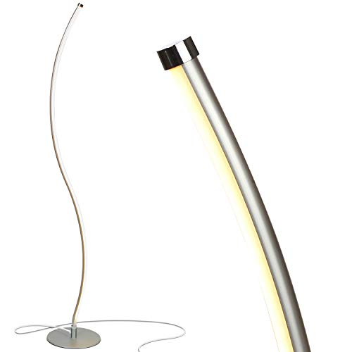 Brightech Wave LED Floor Lamp - Dimmable Urban Contemporary Modern Light Fixture- Tall Standing Floor Lamp with Decorative Design- for Living Room, Den, Family Room, Office, Bedroom, Dorm - Silver