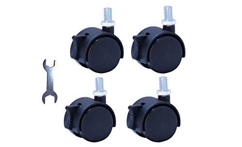 """Replacement Caster New Material Nylon Plastic Swivel Furniture Wheels Floor Protecting Office Chair Swivel Caster Threaded Stem 3/8""""3/5"""" and Dia 1.5 inch with Brake Black (Set of 4) by LPHY"""