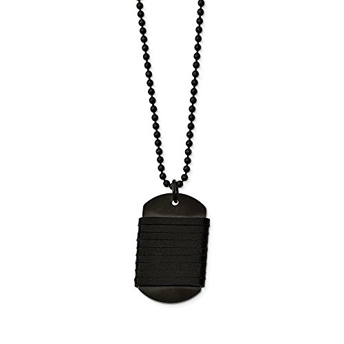 Stainless Steel Brushed Dog Tag Wrapped Leather Necklace Chain (3mm) by Sonia Jewels