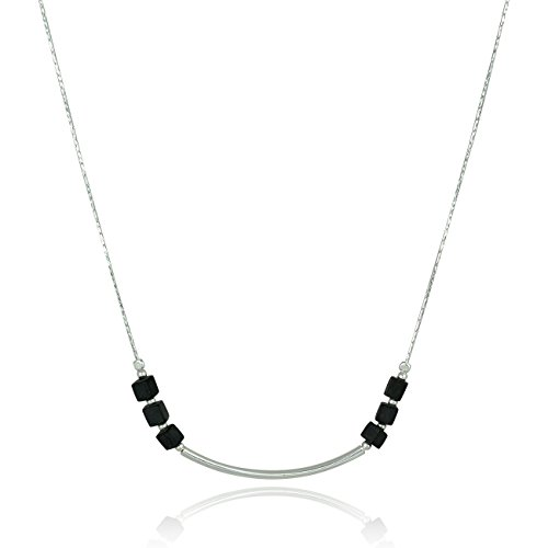 (925 Sterling Silver Black Onyx Necklace with Matte Cube Beads & Polished Silver Tube, 18