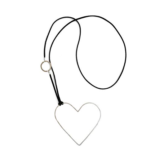 Studio L Jewelry Karen, Long Cord and Large Silver Open Heart Pendant Statement Necklace for Women