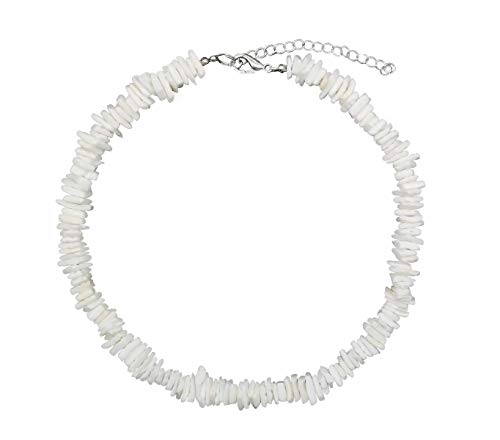 White Surfer Necklace - Women White Conch Clam Chips puka Shell Necklace Collar Choker with Extended Chain for Girls Men's Women Boys Native Rose Hawaiian Beach Ajustable Necklace (16.0 Inches)