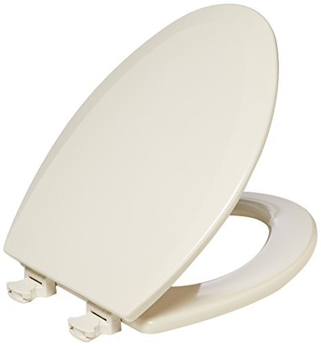 Bemis 1500EC146 Molded Wood Elongated Toilet Seat With Easy Clean and Change Hinge (Almond Elongated Toilet)