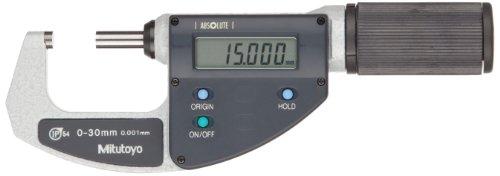 Mitutoyo 293-661-10 QuantuMike Coolant Proof LCD Micrometer, IP54, Ratchet Thimble, 0-30mm Range, 0.001mm Graduation, +/-0.002mm Accuracy