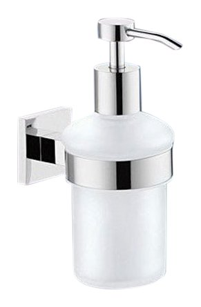 - Gedy 2881-13 Round Stainless Steel/Frosted Glass Wall Mounted Soap Dispenser, 0.75