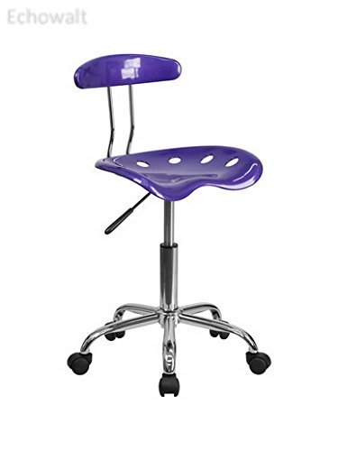 Vibrant Violet and Chrome Computer Task Chair with Tractor Seat [LF-214-VIOLET-GG] - Echowalt update