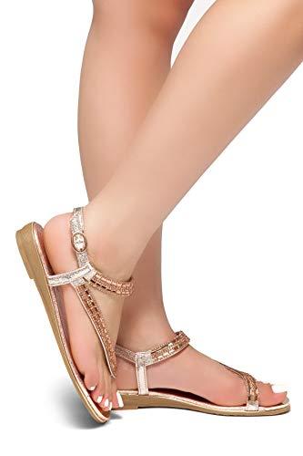 Sandals Strap On Loop Slip Bohemian Rose Women's Herstyle Toe Gladiator Flat Flip Rhinestone Shoes Flops Gld Talluto zwSX6xqB