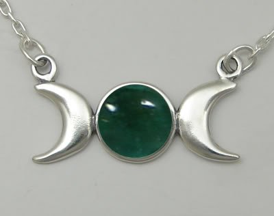 A Beautiful Triple Goddess Symbol, Accented with Genuine Fluorite Made in America