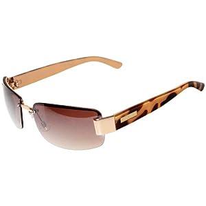 Nine West Womens Half Rim Rectangle Sunglasses