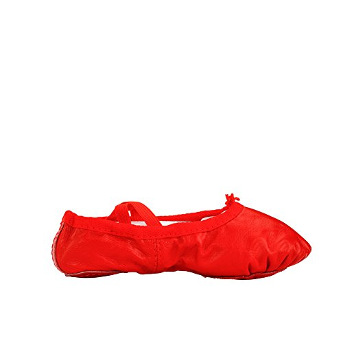 Klassische Yoga Leder Ballettschuhe für Damen rot