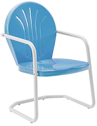 Crosley Furniture Griffith Metal Outdoor Chair - Sky Blue (Retro Furniture Outdoor Metal Style)