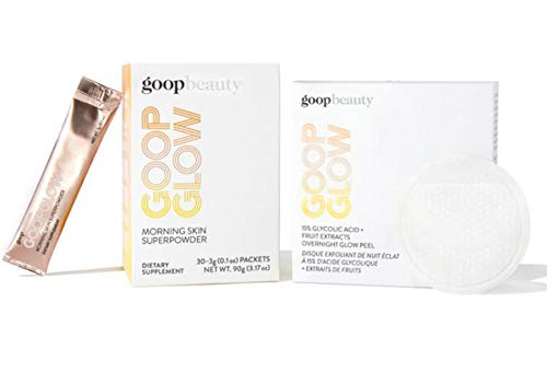 Goopglow Inside Out Glow Kit! 4-Pack Of Goopglow 15% Glycolic Acid + Fruit Extracts Overnight Glow Peel! 30-Pack Of Goopglow Morning Skin Superpowder! Skincare For Beautifully Glowing Skin!