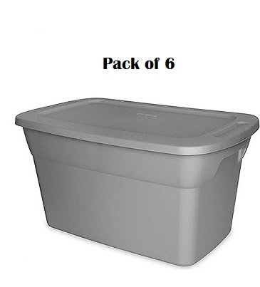 Sterilite 30-gallon (120-quart) Storage Box, Set of 6. This Pack of Spacious Gray Lidded Bins Will Help You Declutter Your Home and Office Space Efficiently and Easily. ()