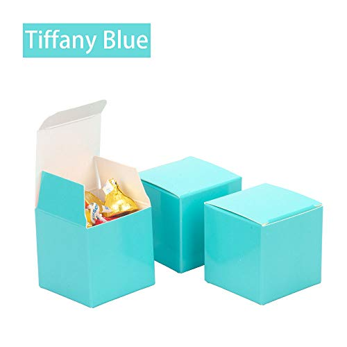 We Moment Tiffany Blue Candy Boxes 2 x 2 x 2 inch Small Square Party Favor Boxes,350gsm,Pack of 50 -