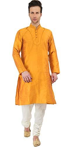 Mens Golden Kurta Pyjama Indian Style Wedding Bollywood Ethnic Long Sleeve Button Down Shirt Wedding Dress -M