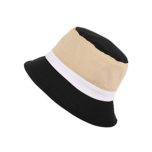 - FEDULK Mens Womens Fisherman Hat Bucket Festival Fishing Outdoor Summer Color Block Fedora Sun Caps(Black)