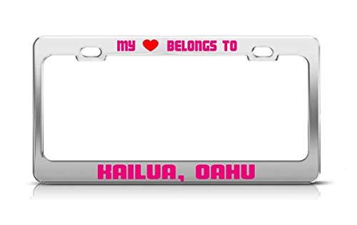 Merle Swinburne My Heart Belongs to Kailua, OAHU Hawaii License Plate Frame Metal