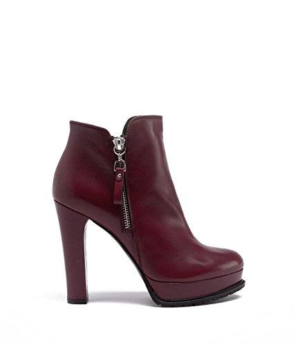 PoiLei Plateau Stiefelette Damen Zoe Leder Ankle Boot bordeaux