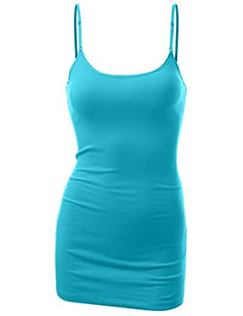 J.TOMSON Womens Basic Cotton Spandex Adjustable Spaghetti Strap Cami LIGHT BLUE MEDIUM