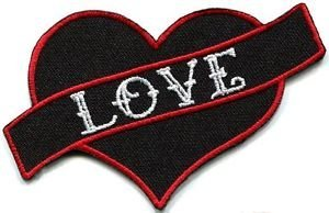 Love Heart Tattoo Biker Hippie Boho Retro Fun Applique Iron-on Patch New G-139 Cute Gift to Your Cloth Fast ()
