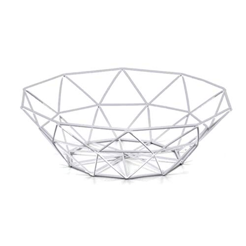 Wire Fruit Basket, Buery Round Metal Fruit Basket Table Decorative Centerpiece Holder, Large Countertop Fruit Bowl for Fruit Vegetable, Bread, Candy and other Household Items, 10 Inch (White-small)