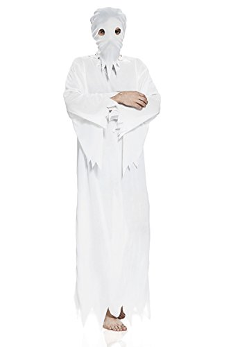 Mens Scary Halloween Costumes Ideas (Adult Unisex Spooky Ghost Halloween Costume Spirit Phantom Dress Up & Role Play (One size fits most, white))