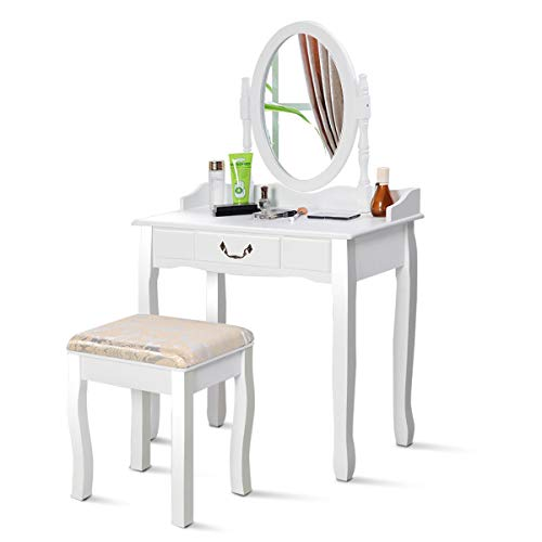 HTH ONLINE STORE Vanity Table Jewelry Makeup Desk Bench Dresser with Cushioned Stool Drawer Makeup Table