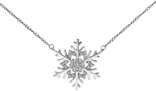 Sparkling Winter Jewelry Women/'s Holiday Necklace Stylish Snowflake Necklace Christmas Necklace Snowflake Charm Shiny AB Silver Plated