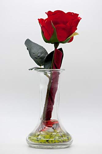 Rote Rose In Kleiner Vase Tischgestecktischdeko Mit Künstlicher