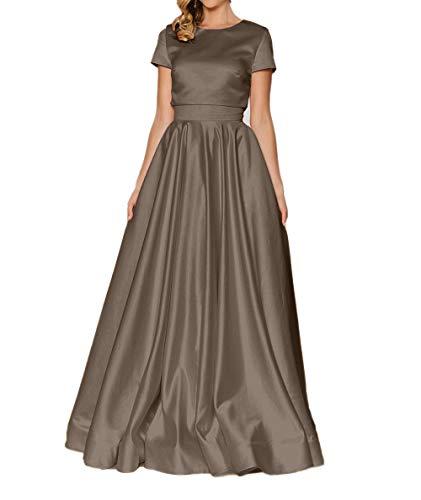 Charmant Damen Ballkleider Weiss Lang Kurzarm Satin Abendkleider Elegant Braun Brautmutterkleider ddrwpx